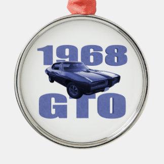 Bleu 1968 de Pontiac GTO Ornement Rond Argenté