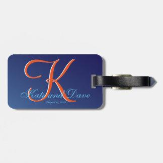 bleu 2 de saphir du monogramme 3d étiquette pour bagages