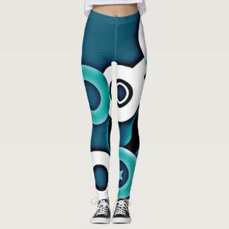 Bleu abstrait et blanc de motif leggings