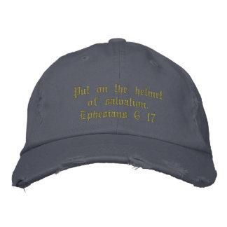 Bleu affligé du casquette des hommes, casquette brodée
