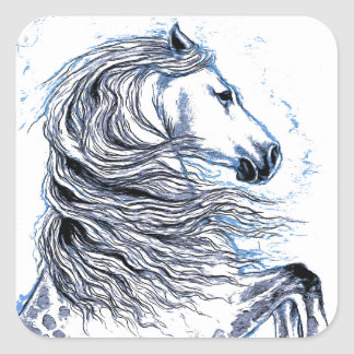 Bleu andalou de cheval sticker carré