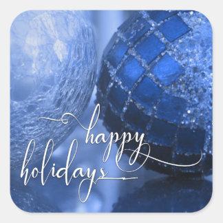 Bleu, argent et blanc bonnes fêtes saluant sticker carré