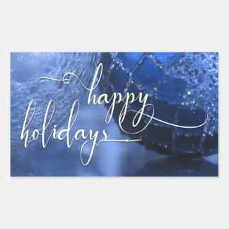 Bleu, argent et blanc bonnes fêtes saluant sticker rectangulaire