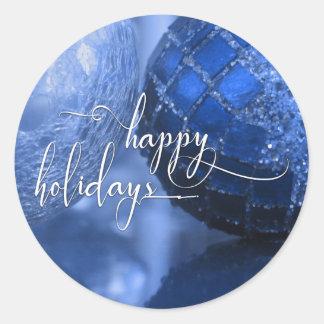 Bleu, argent et blanc bonnes fêtes saluant sticker rond