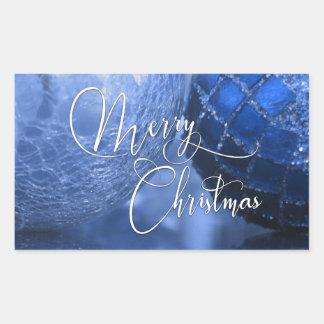 Bleu, argent et salutation blanche de Joyeux Noël Sticker Rectangulaire