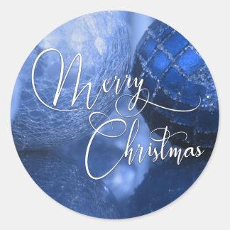 Bleu, argent et salutation blanche de Joyeux Noël Sticker Rond