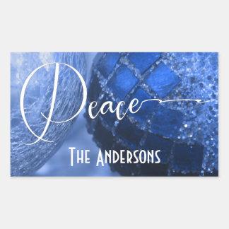Bleu, argent et salutation blanche de paix pendant sticker rectangulaire
