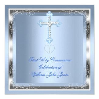 Bleu argenté 2 de première sainte communion de carton d'invitation  13,33 cm