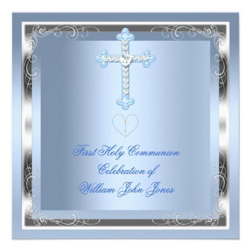 Bleu argenté 2 de première sainte communion de gar cartons d'invitation