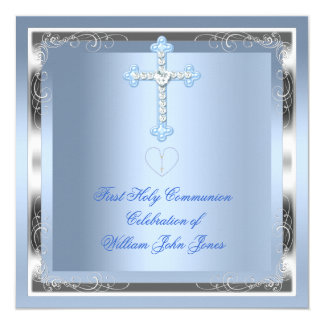 Bleu argenté 2 de première sainte communion de cartons d'invitation
