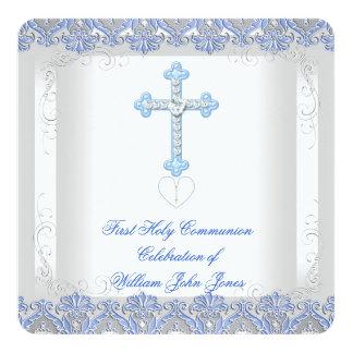 Bleu argenté blanc de première sainte communion de carton d'invitation  13,33 cm