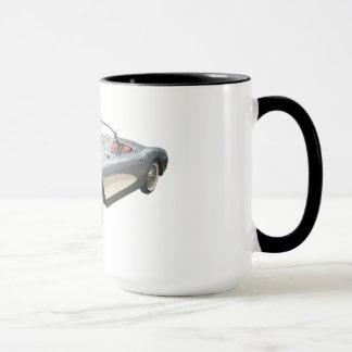 Bleu argenté Corvette 1959 sur la tasse de café