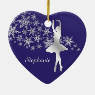 Bleu argenté de ballerine de flocon de neige ornement cœur en céramique