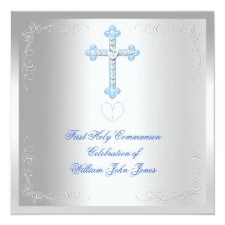 Bleu argenté de première sainte communion de carton d'invitation  13,33 cm