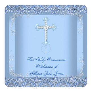 Bleu argenté de première sainte communion de invitations personnalisées