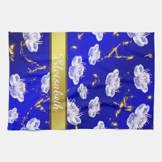 bleu asiatique et or de serviette de fleur, blancs