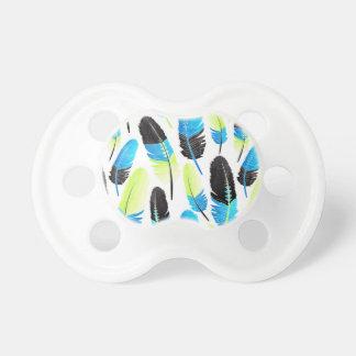 Bleu au néon et Gree d'aquarelle de motif de plume Sucettes Pour Bébé