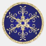 Bleu, autocollant de mariage de flocon de neige de