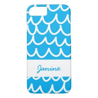 Bleu avec les griffonnages blancs coque iPhone 7