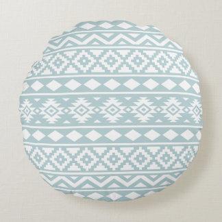Bleu aztèque et blanc d'oeufs de canard de coussins ronds