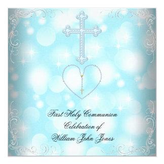 Bleu blanc de première sainte communion de garçon carton d'invitation  13,33 cm