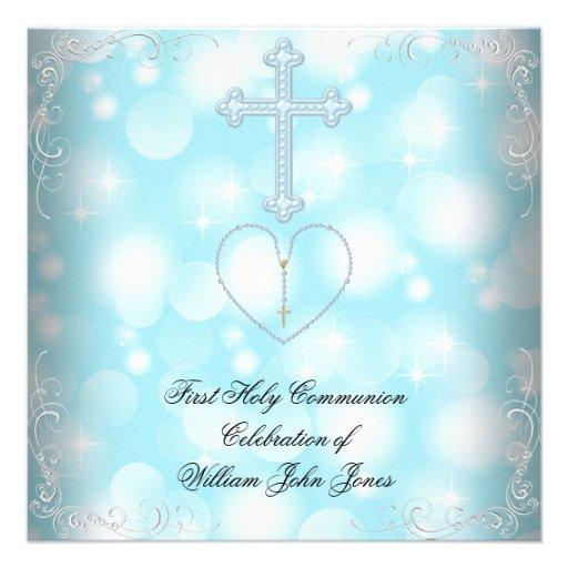Bleu blanc de première sainte communion de garçon invitation