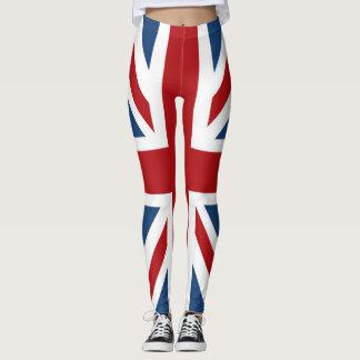 Bleu blanc rouge de drapeau BRITANNIQUE d'Union Leggings
