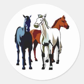 Bleu blanc rouge de trois chevaux forts sticker rond