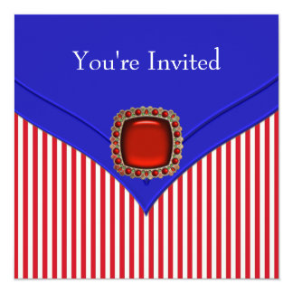 Bleu blanc rouge patriotique toute la partie carton d'invitation  13,33 cm