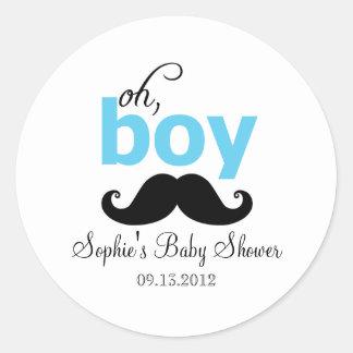 Bleu c'est un autocollant de baby shower de mousta