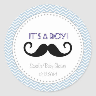 Bleu Chevron d'autocollant de baby shower de Sticker Rond