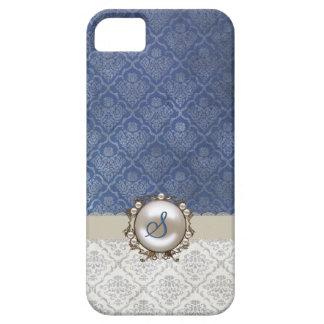 Bleu chic et caisse blanche de l'iPhone 5 de damas Coque iPhone 5 Case-Mate