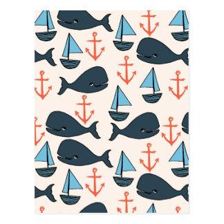 Bleu d'ancre de bateau de baleine/Andrea nautiques Carte Postale
