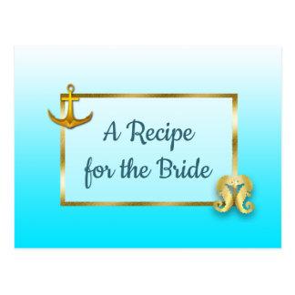 Bleu d'Aqua et carte de recette de mariage
