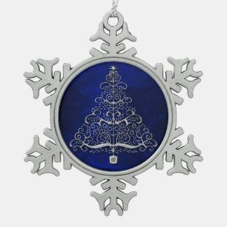 Bleu d'arbre de Noël de chrome Ornement Flocon De Neige Pewter