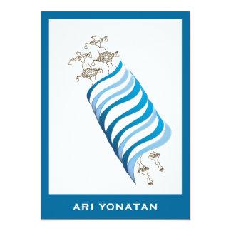 Bleu d'Ari Yonatan Torah d'invitation de Mitzvah Carton D'invitation 12,7 Cm X 17,78 Cm
