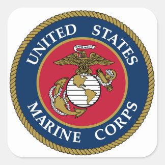 Bleu d'autocollant de Marine Corps des USA Sticker Carré