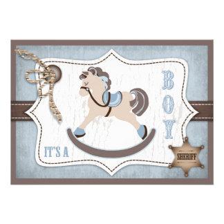 Bleu de baby shower de cowboy de cheval de bascula