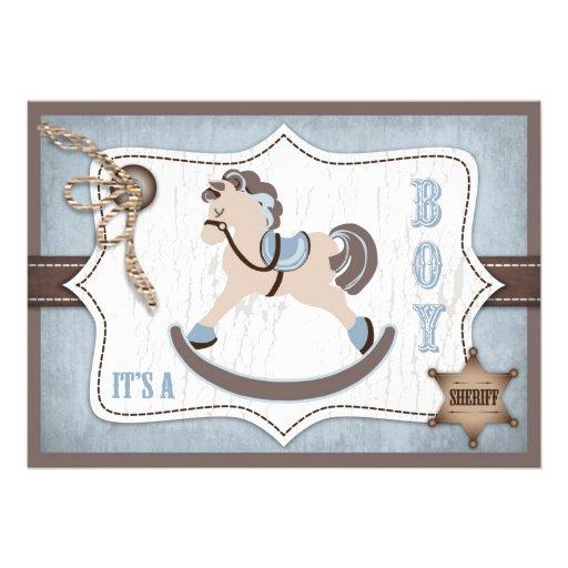 Bleu de baby shower de cowboy de cheval de bascula faire-part personnalisé