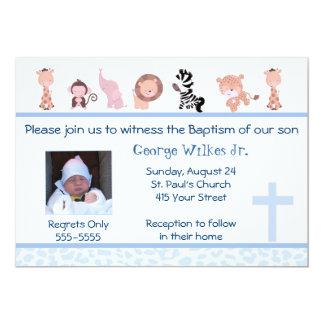Bleu de baptême de baptême de garçon d'invitation carton d'invitation  12,7 cm x 17,78 cm