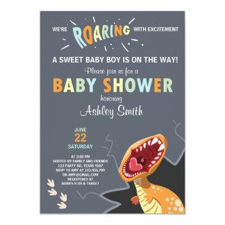 Bleu de bébé de Dino d'invitation de baby shower Carton D'invitation 12,7 Cm X 17,78 Cm