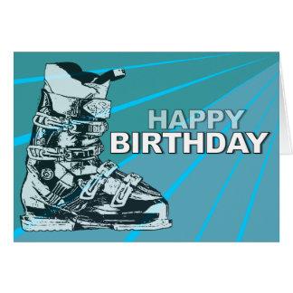 Bleu de botte de ski de carte d'anniversaire