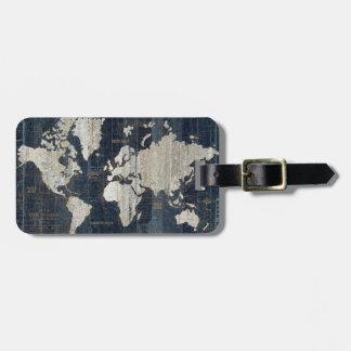 Bleu de carte de Vieux Monde Étiquettes Bagages
