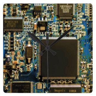 Bleu de carte d'unité de disque dur d'ordinateur horloge carrée