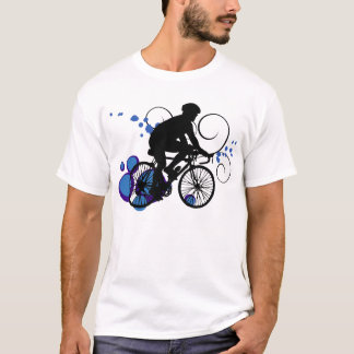 Bleu de cavalier de vélo t-shirt