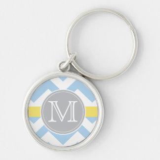 Bleu de ciel Chevron avec le cadeau de monogramme Porte-clé Rond Argenté