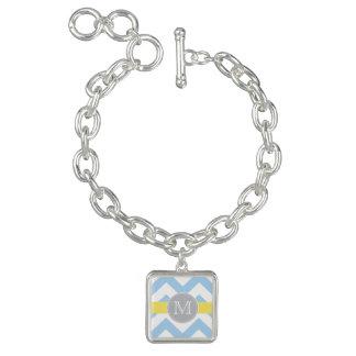 Bleu de ciel Chevron avec le monogramme de rayure Bracelets Avec Breloques