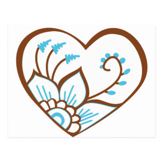 Bleu de coeur de henné cartes postales