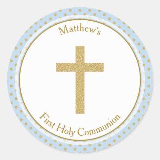 Bleu de communion avec le pois d'or sticker rond