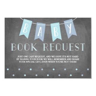 Bleu de demande de livre de baby shower carton d'invitation 8,89 cm x 12,70 cm